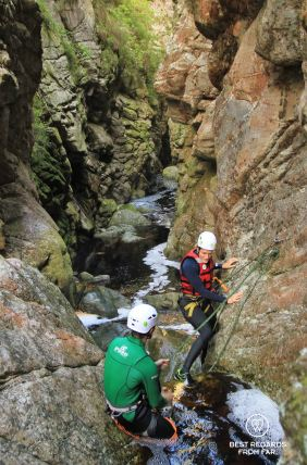 About to rappel down the waterfall, canyoning George, South Africa