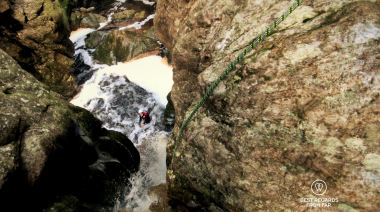 After the first rappel down through a waterfall, canyoning George, South Africa