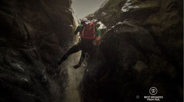 Marthinus abseiling down a waterfall, canyoning George, South Africa