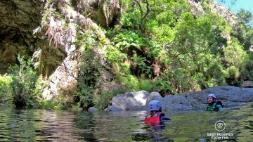 Making it through the canyon, canyoning George, South Africa
