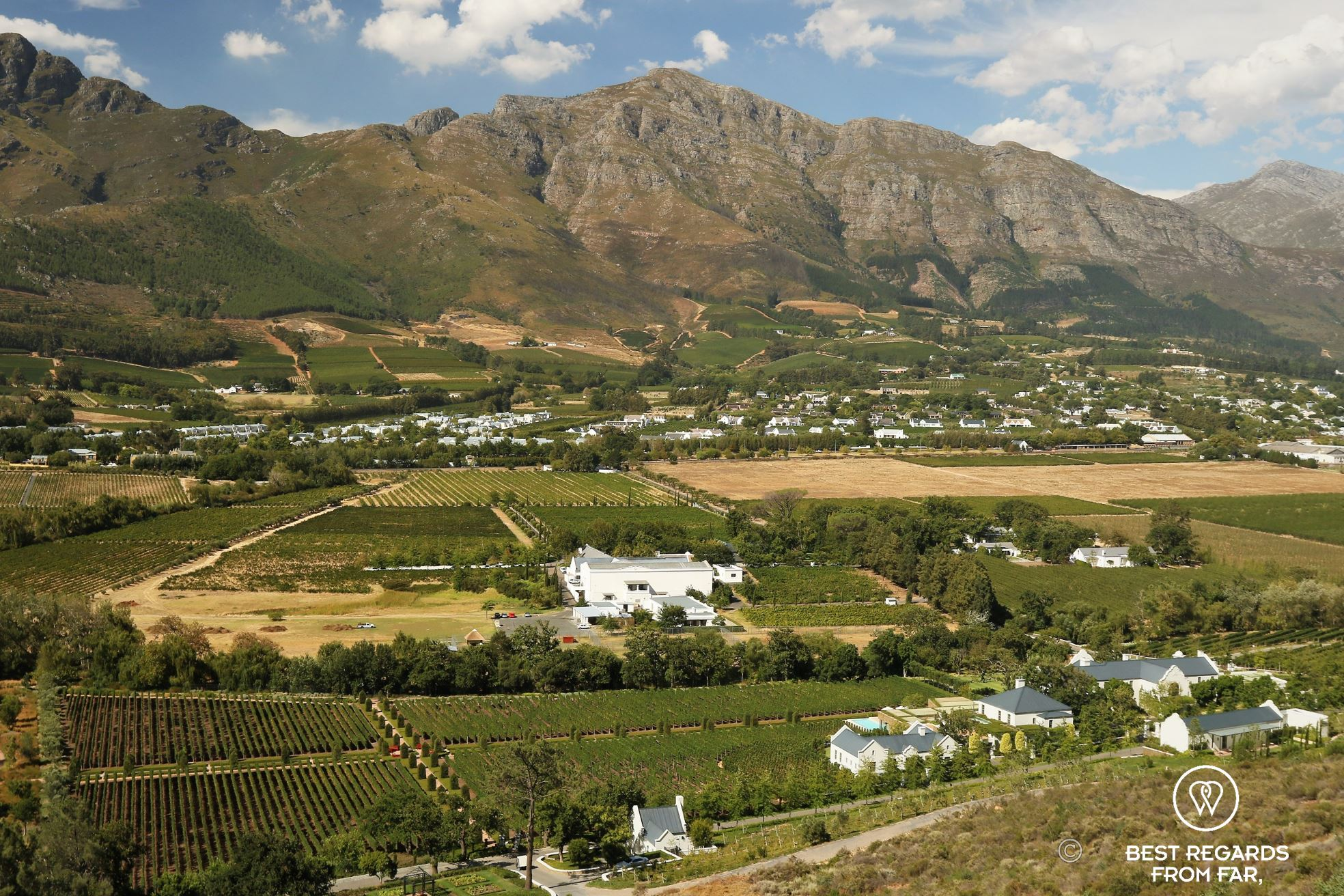 View on Franschhoek and its mountains