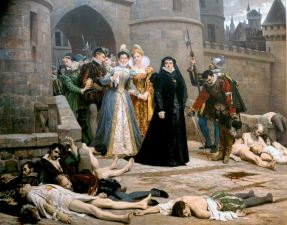 Catherine de Medici gazing at Protestants massacred in the aftermath of the massacre of St. Bartholomew in Paris, Un matin devant la porte du Louvre by Edouard Debat-Ponsan