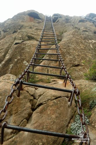 The daunting chain ladder leading to the Tugela Falls, Drakensberg, South Africa