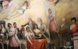 Goya on the painted ceiling, Museo Lazaro Galdiano, Madrid, Spain