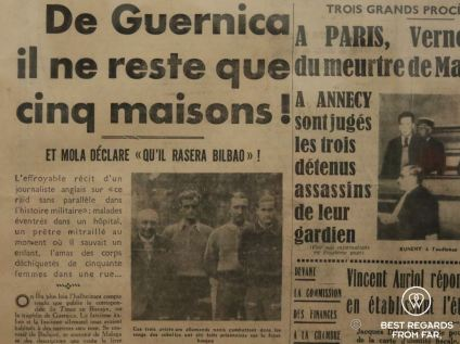 French newspaper heading that informed Picasso about the Gernika bombings