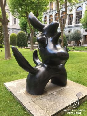Moon bird by Miro in the patio of the Museo Nacional Centro de Arte Reina Sofia, Madrid, Spain