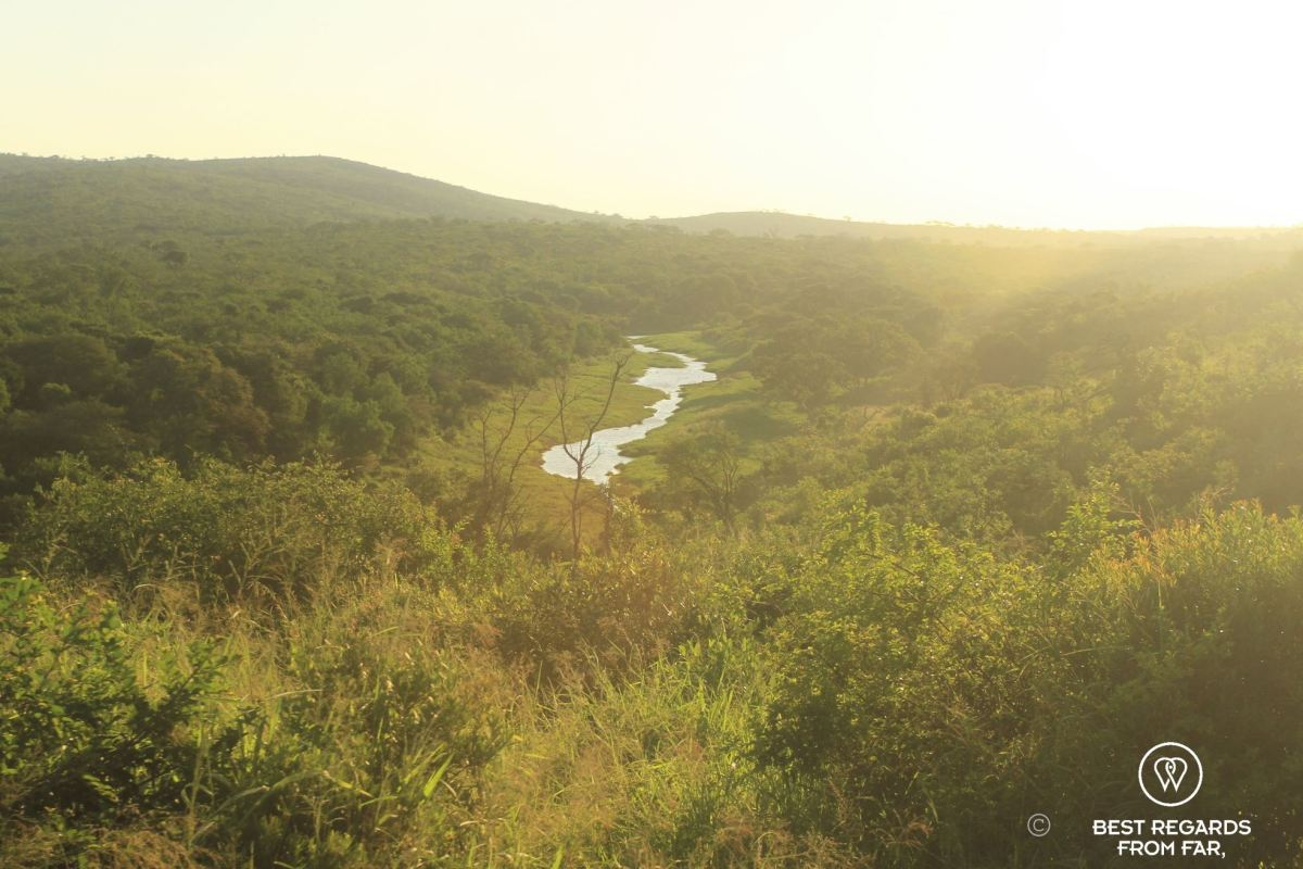 Small body of water in a valley of green hills, Hluhluwe iMfolozi, South Africa.