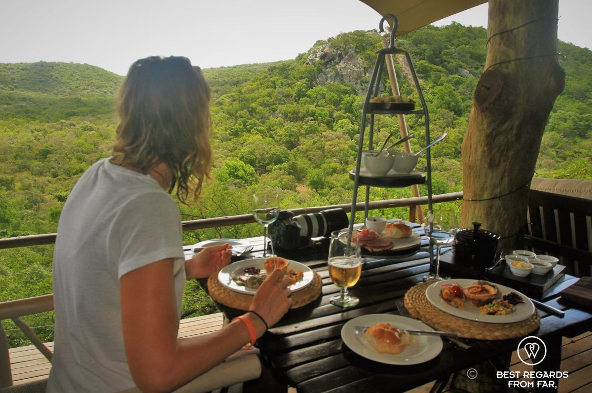 Photographer Marcella van Alphen having lunch at Rock Lodge, &Beyond Phinda Private Game Reserve, South Africa.