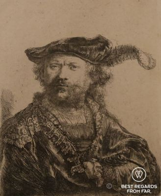 Self portrait of Rembrandt, etching, 1638, Museo Lazaro Galdiano, Madrid, Spain