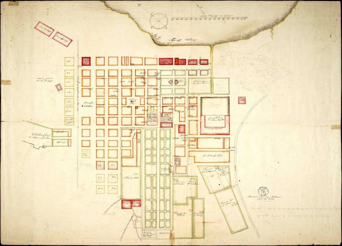 Cape Town in 1785 indicating the blocks and name of the owners