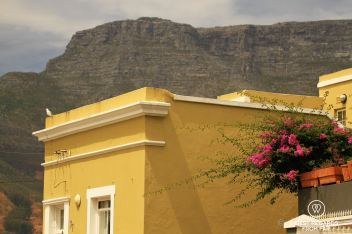 Colourful Bo-Kaap with Table Mountain in the background, Cape Town, South Africa