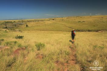 Following the trail through grasslands, Wild Coast hike, South Africa