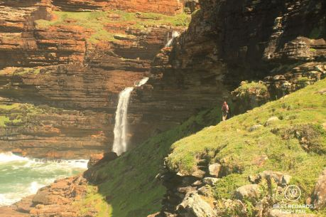 Waterfall Bluff pounding into the Indian Ocean, Wild Coast hike, South Africa