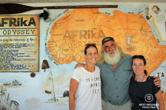 Best regards from far with Kingsley Holgate in front at his Africa House, South Africa