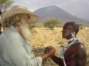 Kingsley Holgate greeting a Maasai, photo by the Kingsley Holgate Foundation