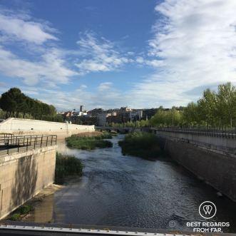 Running the river banks, Madrid, Spain