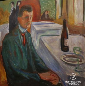 Self portrait with a bottle of wine, The Edvard Munch Museum, Oslo, Norway