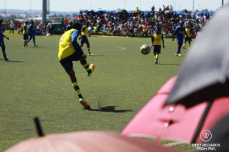 Popular soccer match at the Nike Training centre, Klipspruit, Soweto, South Africa