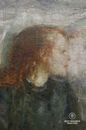 The sick child by Edvard Munch, detail, National Gallery, Oslo, Norway