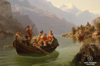 The Bridal procession on the Hardangerfjorj by Adolf Tideman and Hans Gude (1848), National Gallery, Oslo, Norway