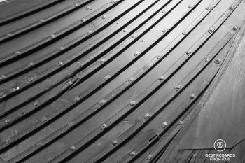 The clinker built technique on a Viking longship, The Viking Museum, Oslo, Norway