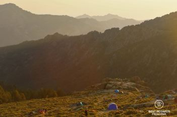 Sunset from our bivouac at d'Ortu di u Piobbu, GR 20, Corsica