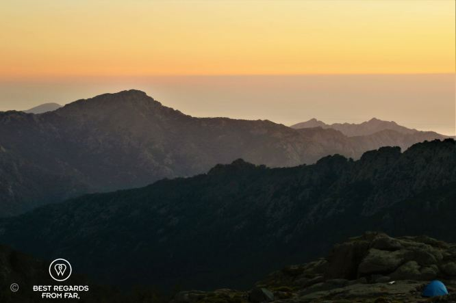 View on the Mediterranean Sea before sunrise from Ortu di u Piobbu, Stage 2 of the GR 20, Corsica, France