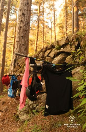 Drying our clothes after washing them in the river, GR 20, Corsica, France