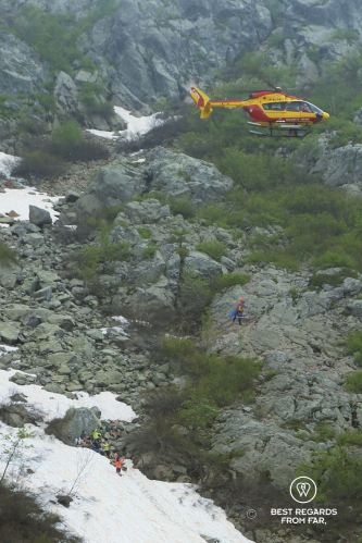 The wounded woman being airlifted up from the GR 20, Corsica, France