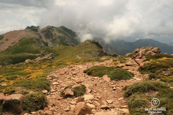 Easier trail going down from Refuge de Ciuttulu di i mori on Stage 5 of the GR 20, Corsica, France