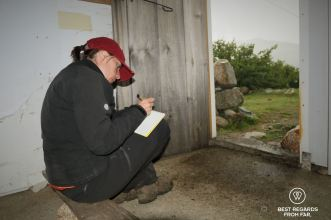 Hiding and writing in the rain at the desolated sheepfold d'Inzecche on Stage 6 of the GR 20, Corsica, France