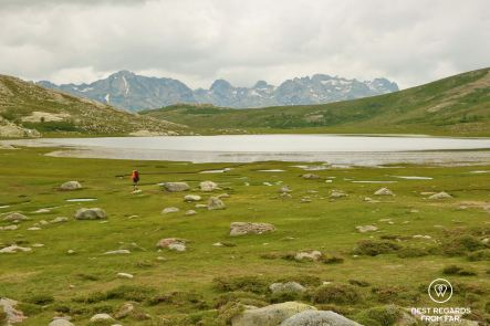 The peaty Lake Nino on Stage 6 of the GR 20, Corsica, France