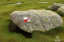 GR 20 marking on a rock near Lake Nino on Stage 6, Corscia, France