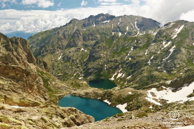 The Capitellu altitude lake on Stage 7 of the GR 20, Corsica, France