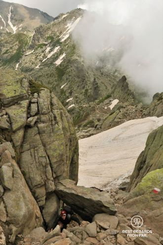 Scrambling down to Petra Piana on Stage 7 of the GR 20, Corsica, France