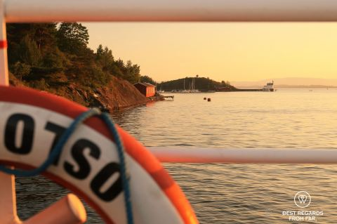 Sunset through the boat railing, Oslo, Norway.