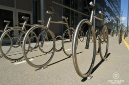 Metal bikes on a bicycle lane, Oslo, Norway.