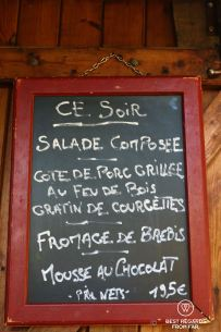 Today's menu at Col de Verde on Stage 10 of the GR 20, Corsica, France