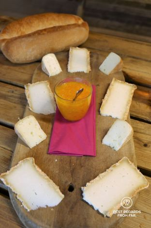Local sheep cheese and clementine jam at the bergeries de Croci, GR 20, Corsica, France