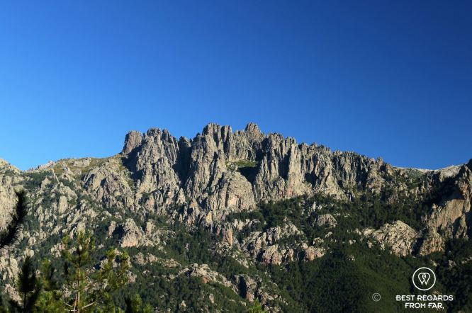 The Bavella needles from Foce Finosa on the GR 20, Corsica, France