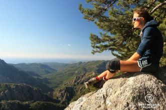 Taking in the view from Foce Finosa on the East coast of Corsica on the GR 20, France