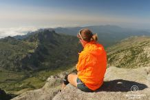 Incudine summit with a view on the Bavella Peaks and the Mediterranean Sea, GR 20, Corsica, France