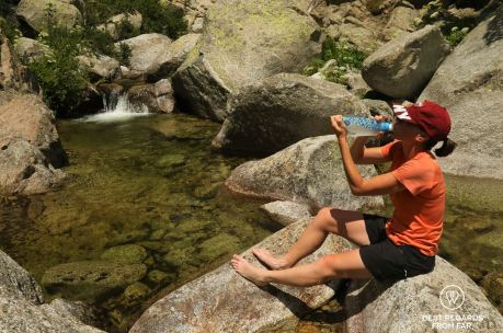 Enjoying the stream before the steep uphill to the Bavella mountains, GR 20, Corsica, France
