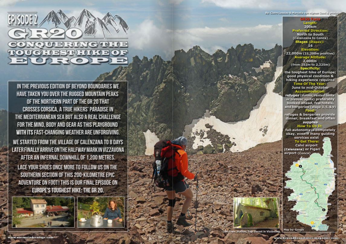 GR20, part 2 of 2 article in the Beyond Boundaries magazine with a hiker in snowy mountains in Corsica