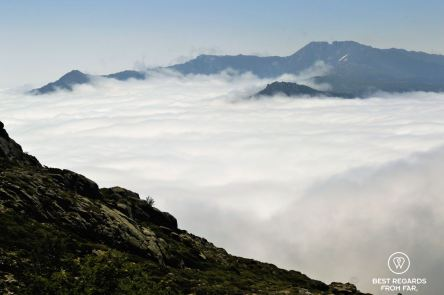 View on a sea of clouds from refuge d'Usciolu on the GR 20, Corsica, France