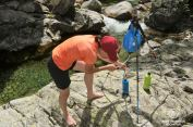 Filtering water with the Katadyn Gravity Camp even without trees around!