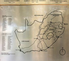 Map of the concentration camps in which tens of thousands died, South Africa