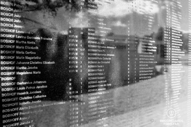 Only just a few names of the tens of thousands of boers who died during the Anglo-Boer War Museum, Bloemfontein, South Africa