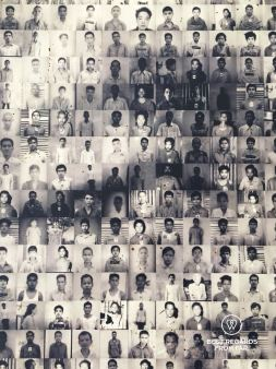 Vann Nath's portrait made of hundreds of victims' ID photos, Phnom Penh, Cambodia