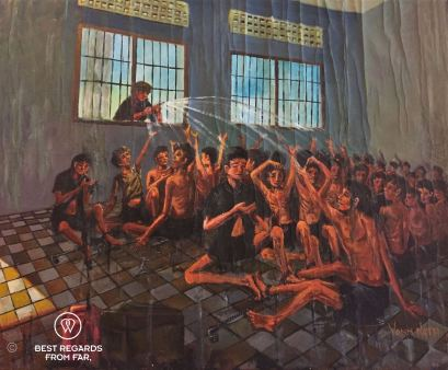 Vann Nath's painting of conditions of prisoners at S21, Phnom Penh, Cambodia